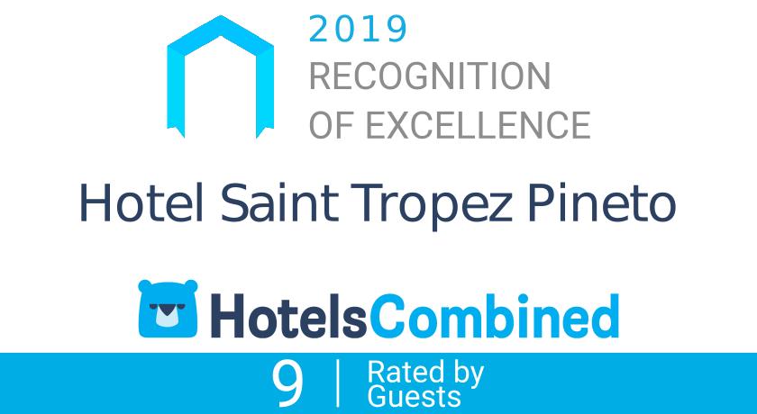 Certificato di eccellenza di HotelsCombined per Hotel Saint Tropez a Pineto in Abruzzo