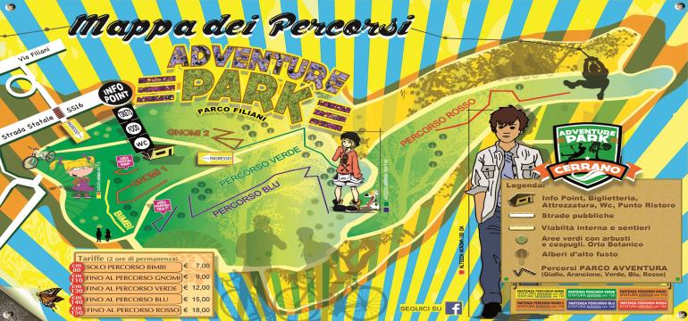 Mappa Adventure Park Cerrano a Pineto in Abruzzo